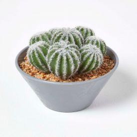 Artificial Barrel Cactus Arrangement in Round Grey Pot, 17 cm Tall