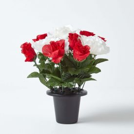 Artificial Red Roses and White Peonies Mix in Grave Vase