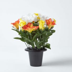 Artificial Yellow Roses, White Peonies and Orange Lilies Mix in Grave Vase