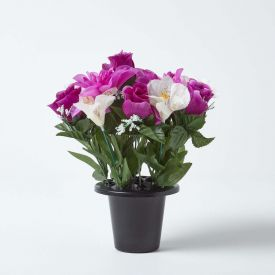 Artificial Purple Roses, Purple Peonies and White Lilies Mix in Grave Vase