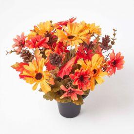 Orange and Red Autumnal Artificial Flower Arrangement in Grave Vase