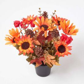 Orange and Brown Autumnal Artificial Flower Arrangement in Grave Vase
