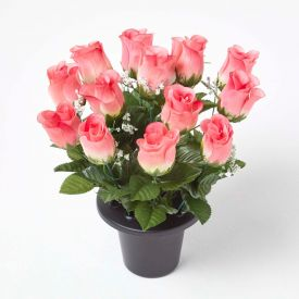Artificial Pink Rosebuds with Gypsophila in Grave Vase