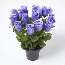 Artificial Violet Rosebuds with Gypsophila in Grave Vase