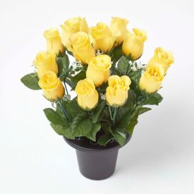 Artificial Yellow Rosebuds with Gypsophila in Grave Vase