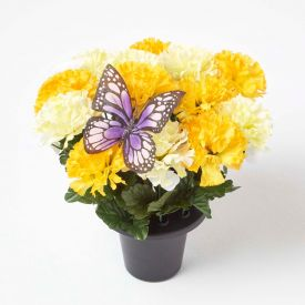 Artificial Yellow Carnations with Butterfly in Grave Vase