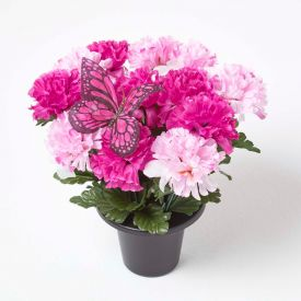 Artificial Pink Carnations with Butterfly in Grave Vase