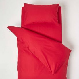 Red Cotton Cot Bed Duvet Cover Set 200 Thread Count