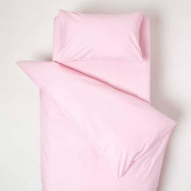 Pink Cotton Cot Bed Duvet Cover Set 200 Thread Count