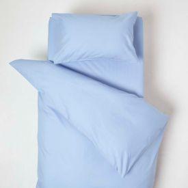 Blue Cotton Cot Bed Duvet Cover Set 200 Thread Count