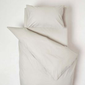 Grey Cotton Cot Bed Duvet Cover Set 200 Thread Count