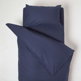 Navy Cotton Cot Bed Duvet Cover Set 200 Thread Count