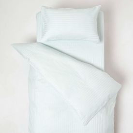 Blue Cotton Stripe Cot Bed Duvet Cover Set 330 Thread Count