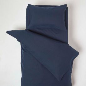 Navy Linen Cot Bed Duvet Cover Set 120 x 150 cm