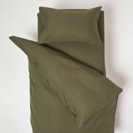 Green Linen Cot Bed Duvet Cover Set 120 x 150 cm