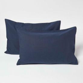 Navy Linen Kid's Pillowcases 60 x 40 cm, Pack of 2