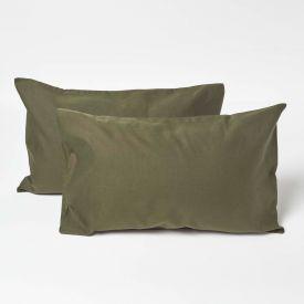 Green Linen Kid's Pillowcases 60 x 40 cm, Pack of 2