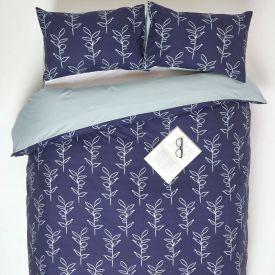 Blue Leaf Digitally Printed Cotton Duvet Cover Set