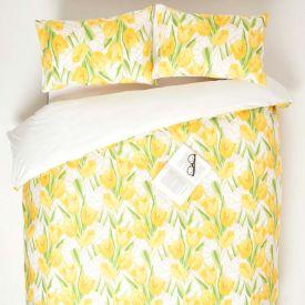 Yellow Tulips Digitally Printed Cotton Duvet Cover Set
