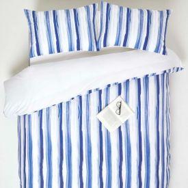 Blue Stripe Digitally Printed Cotton Duvet Cover Set