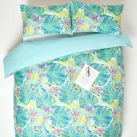 Lily Pad Digitally Printed Cotton Duvet Cover Set