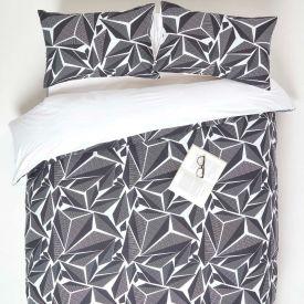 Monochrome Digitally Printed Cotton Duvet Cover Set