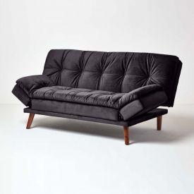 Bailey Velvet Sofa Bed with Armrests, Black