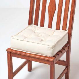 Cream Cotton Dining Chair Booster Cushion