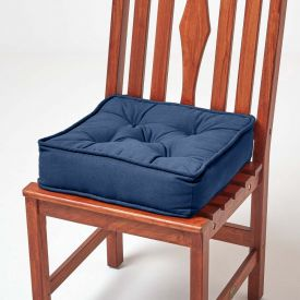 Cotton Dining Chair Booster Cushion Navy Blue