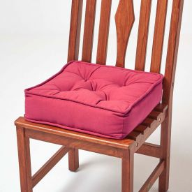 Cotton Dining Chair Booster Cushion Claret Red