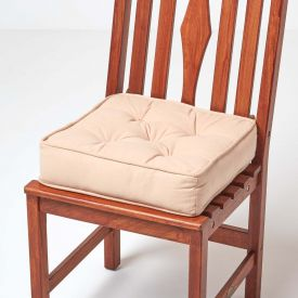 Cotton Dining Chair Booster Cushion Taupe Beige