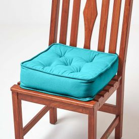 Cotton Dining Chair Booster Cushion Teal