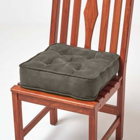 Taupe Grey Faux Suede Dining Chair Booster Cushion