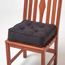Black Faux Suede Dining Chair Booster Cushion