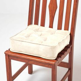 Cream Faux Suede Dining Chair Booster Cushion