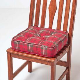 Dining Booster Cushion Edward Tartan Design Cotton
