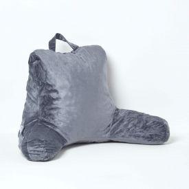 Grey Reading Pillow Memory Foam Filling & Velvet Cover, Standard