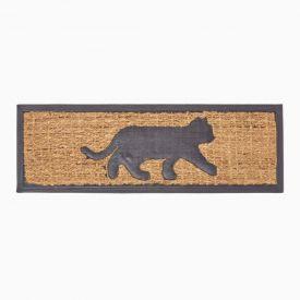 Black Cat Silhouette Non-Slip Coir Doormat