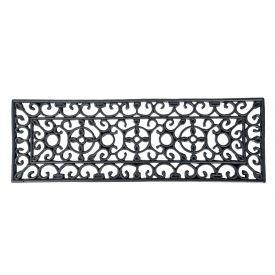 Black Wrought Iron Effect Parisian Style Rectangular Rubber Doormat, 75 x 25cm