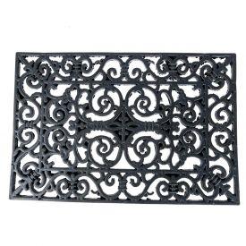 Black Wrought Iron Effect Parisian Style Rectangular Rubber Doormat, 70 x 40 cm