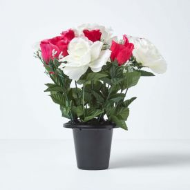 White & Pink Grave Artificial Flowers Roses & Rosebuds Mix in Grave Vase