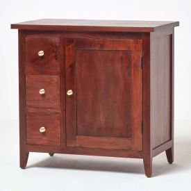 Groove Dark Shade Solid Mango Wood Small Sideboard with Drawers