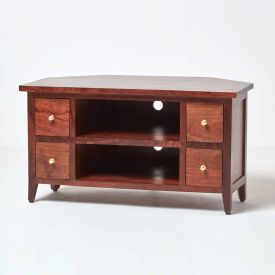 Groove Dark Shade Solid Mango Wood TV Video Corner Unit With Drawers