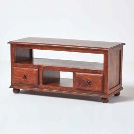 Takhat TV Unit With 2 Drawer, Solid Indian Sheesham Hardwood Furniture