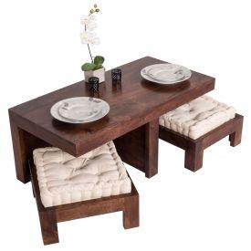Dark Shade Dakota Coffee Table Set with Two Stools 100% Solid Wood