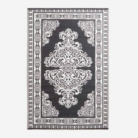 Black and White Motif Design Reversible Outdoor Rug