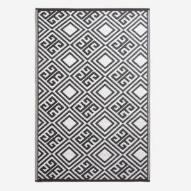 Black and White Geometric Design Reversible Outdoor Rug