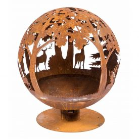 Decorative Fire Pit Globe with Laser Cut Woodland Scene