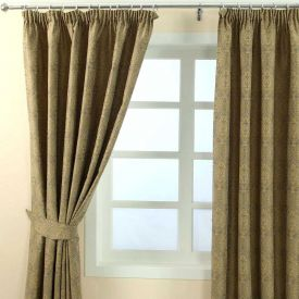 """Gold Jacquard Curtain Floral Damask Design Fully Lined - 66"""" X 54"""" Drop"""