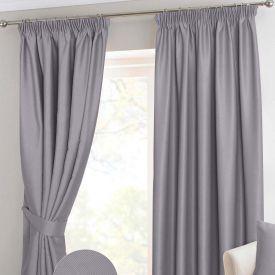 Grey Herringbone Chevron Thermal Blackout Curtains Pair Pencil Pleat